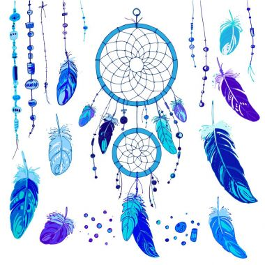 Set of ornaments, feathers and beads.