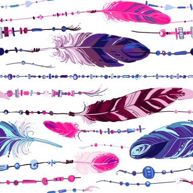 Pattern of ethnic feathers.