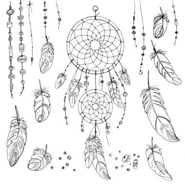 Set of ornaments, feathers and beads