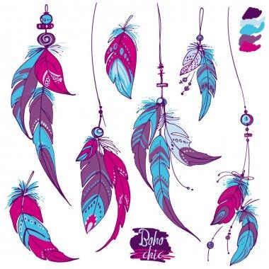 ethnic feathers set
