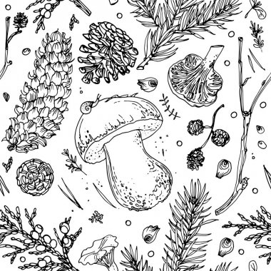 seamless forest objects pattern