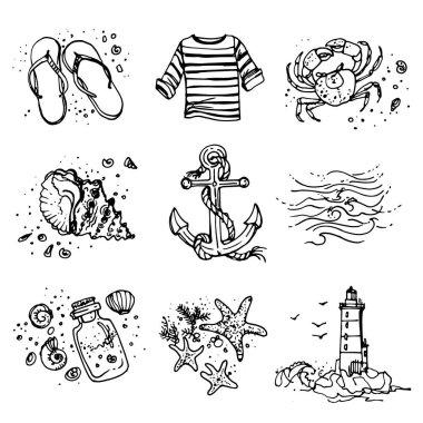 hand-drawn sea icons set
