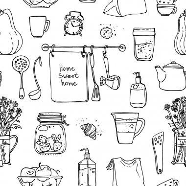 hand-drawn household supplies pattern