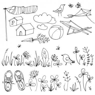 hand-drawn summer in village set