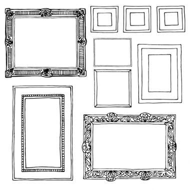 hand-drawn frames set