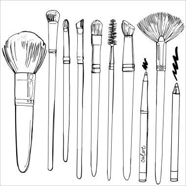 hand-drawn makeup brushes set