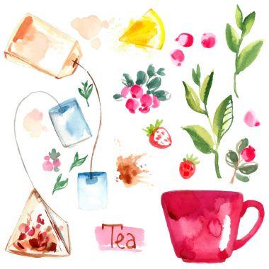hand-drawn watercolor tea set