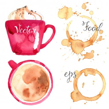 hand-drawn watercolor coffee set