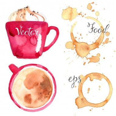 hand-drawn watercolor coffee set
