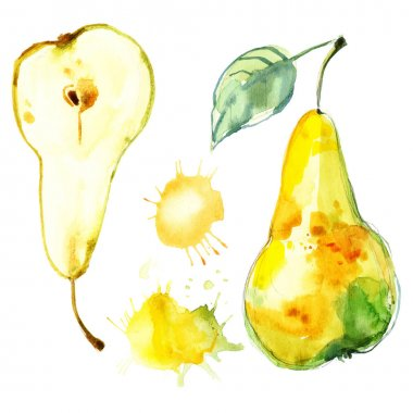 hand-drawn watercolor pears