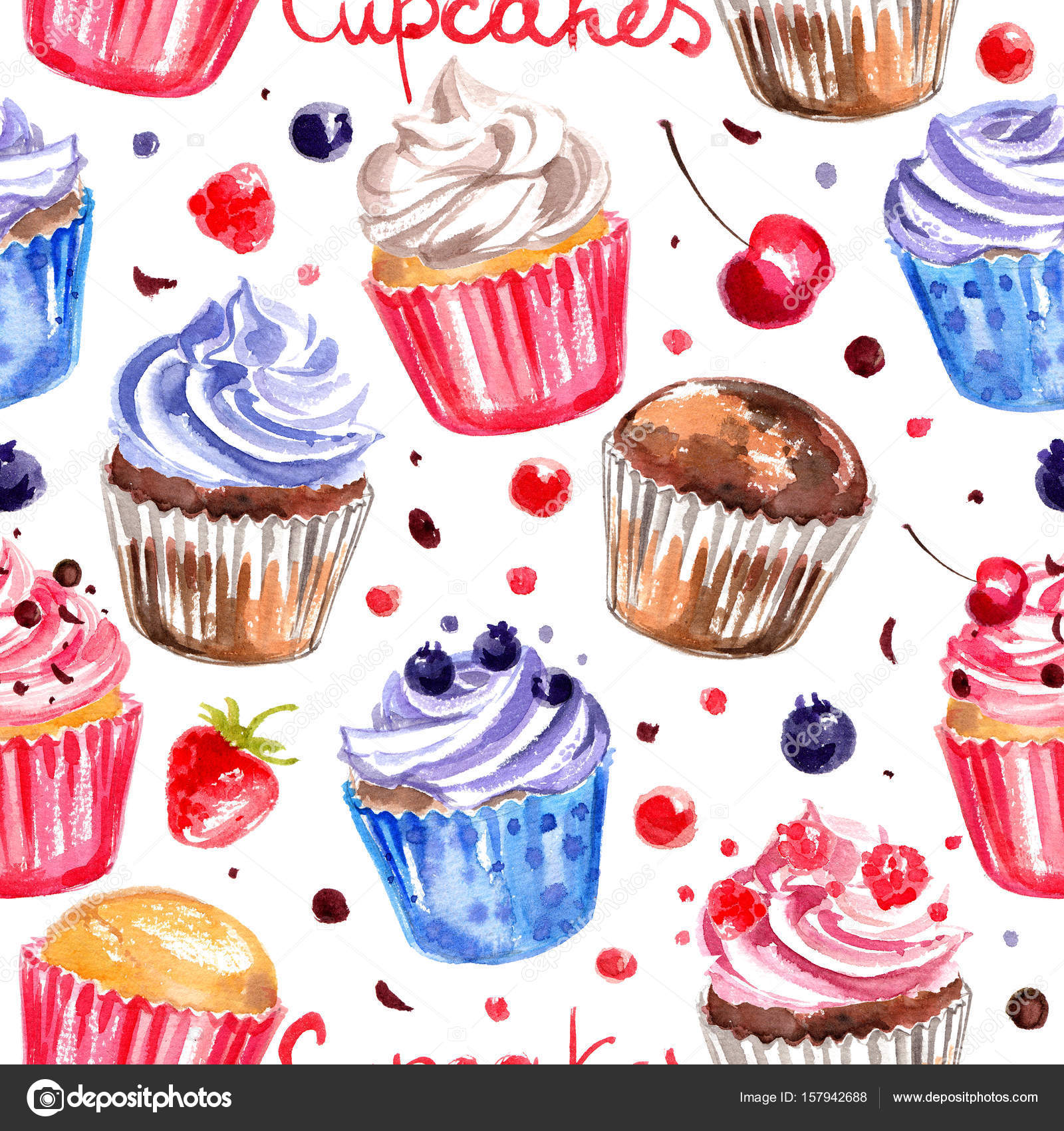 Pattern Cupcakes Painted With Watercolors On White Background Colorful Cakes For Holiday Photo By Vaneevaisgmail