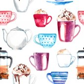 Pattern coffee painted with watercolors on white background. Figure ink on paper. Tea , a cup, a bag of berries.