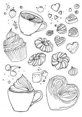 Coffee and sweets  drawing