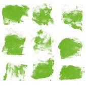 Fotografie Set Aquarell grüne Blobs, isoliert auf weißem Hintergrund. Form Design leere Aquarell farbige Rundungen Web-Schaltflächen auf weißem Hintergrund. Scheidungen zu malen. Greenary