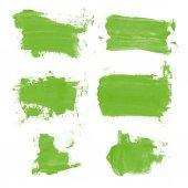 Fotografie Set Aquarell grüne Kleckse, isoliert auf weißem Hintergrund. Shape Design leere Aquarell farbige abgerundete Formen Web-Tasten auf weißem Hintergrund. Scheidungen malen. grünlich
