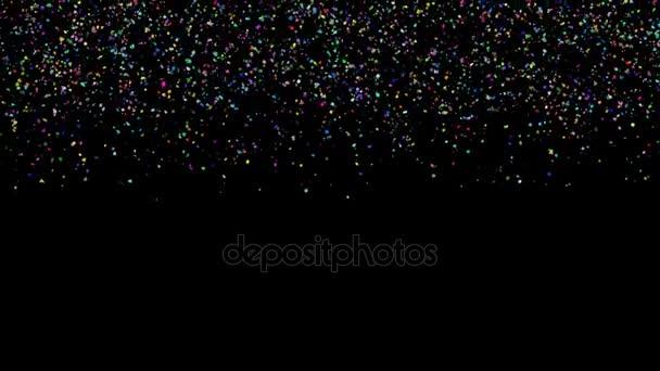 Animace barevné konfety papírové, Kroucená šňůra a prvek částic pro dovolenou stranou reklama a oslava dekorace koncept v černém pozadí izolované