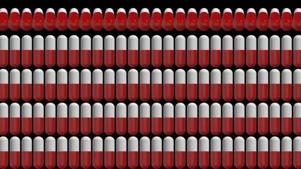 rows of pills. medical cinematographic background. seamless loop.