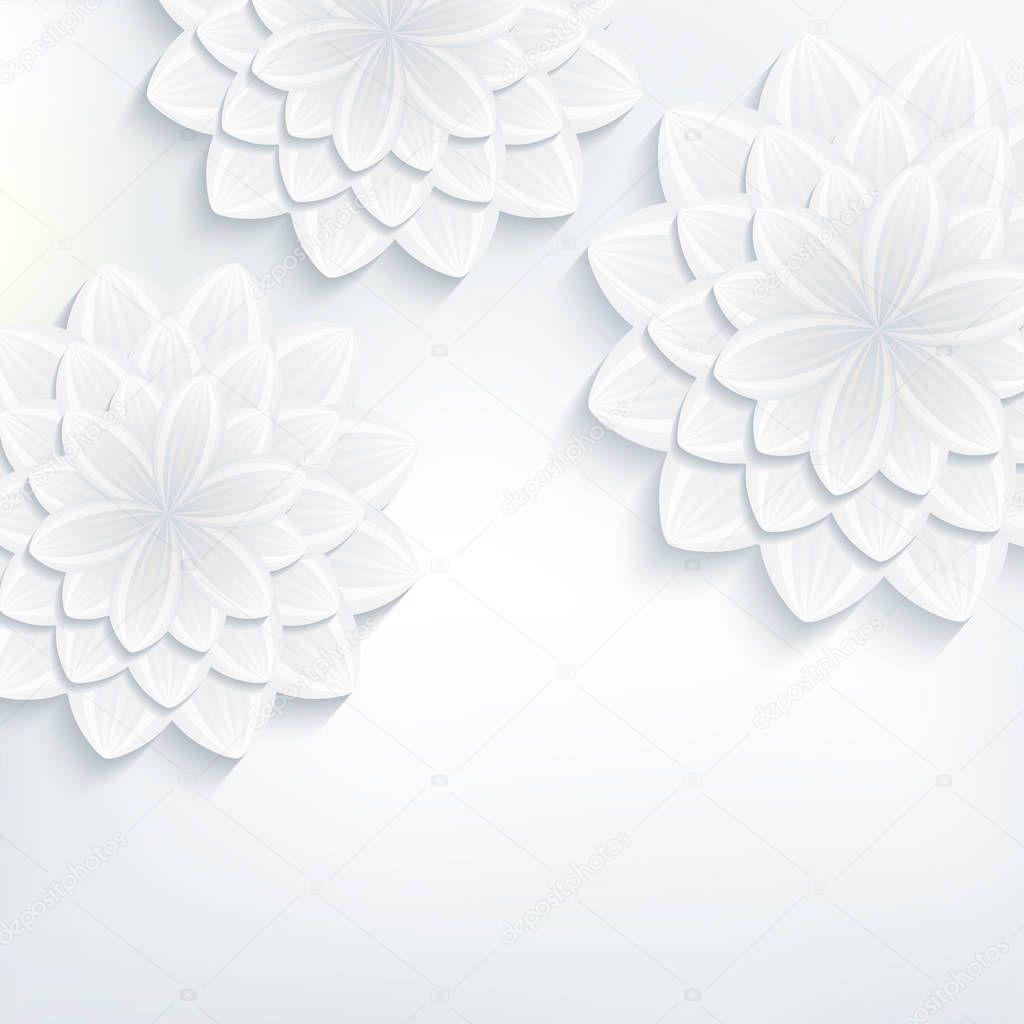Greeting card with 3d flower chrysanthemum