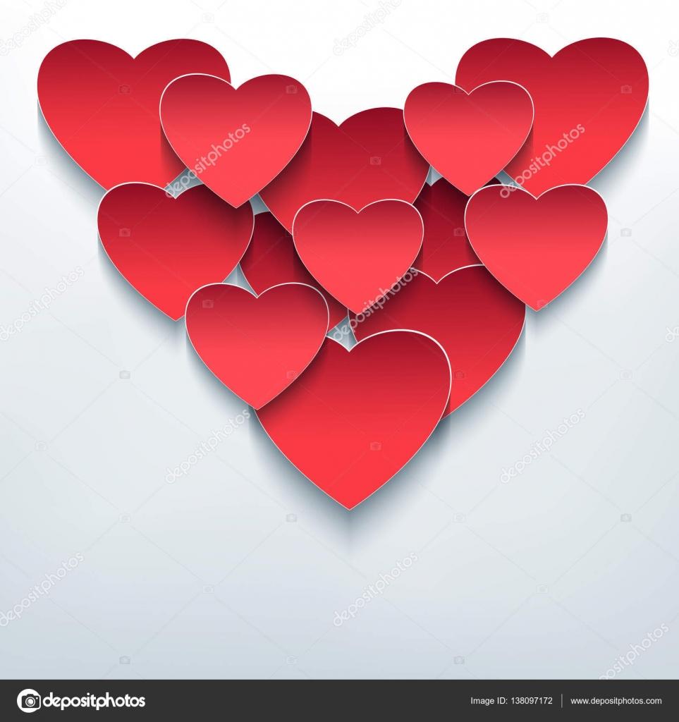 Fondo de San Valentín con 3d corazones corte de papel — Archivo ...