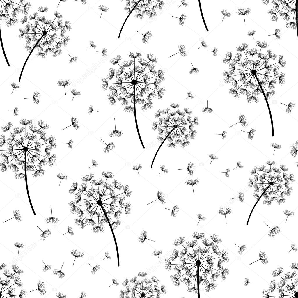 Background seamless pattern with stylized dandelions