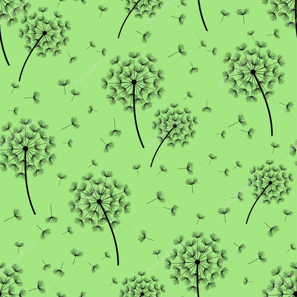 Green seamless pattern with black dandelions