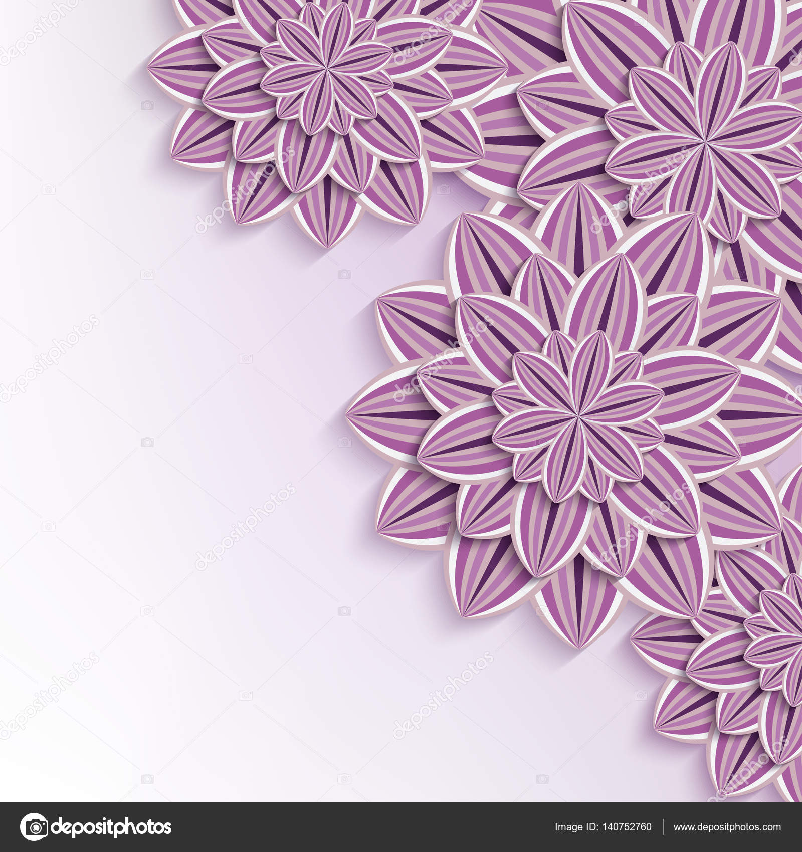 Modern Background With 3d Paper Flowers Stock Vector Silvionka