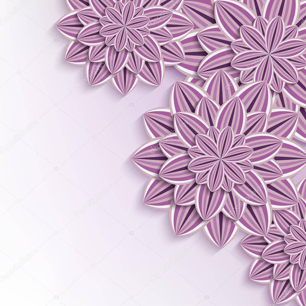 Modern background with 3d paper flowers