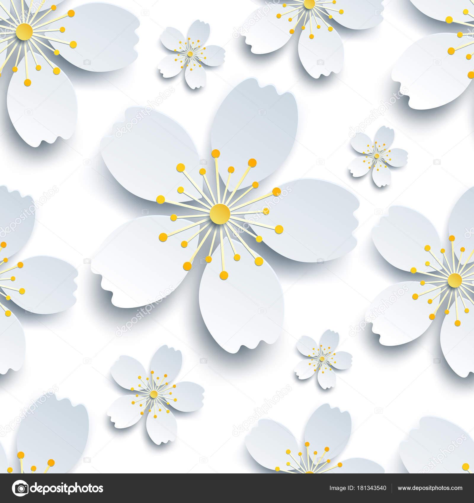 Elegant Modele Sans Couture Avec Sakura Blanches Fleurs Image