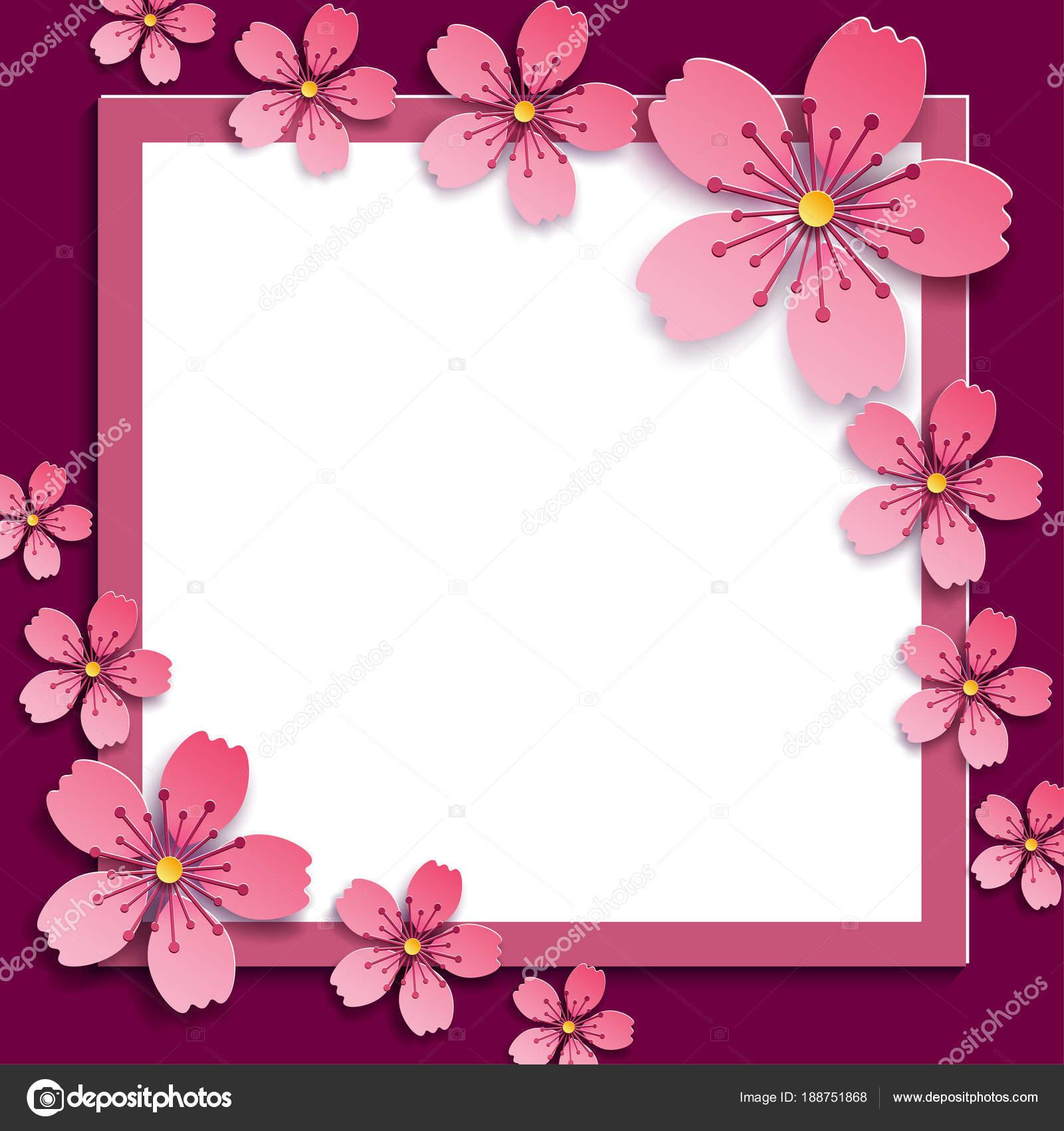 Marco de celebración con rosa 3d flor de sakura — Archivo Imágenes ...