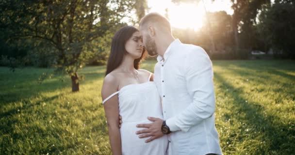 A park egy ember terhes feleségét, megcsókolta, és megsimogatta a has jön. 4k