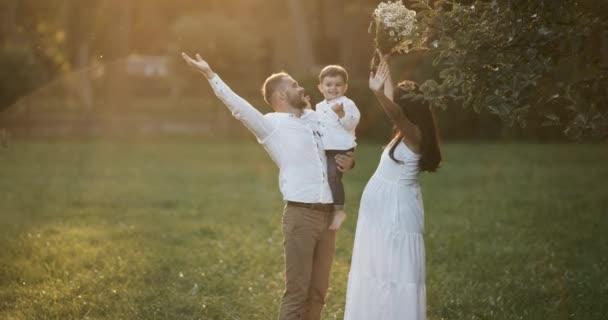 Mladá rodina: rodiče, kteří hrají s jejich synem batole. Šťastný matka a otec objímá své dítě, usmíval se venku za slunečného dne. Šťastné dětství a rodičovství koncept. Slunečního světla v objektivu