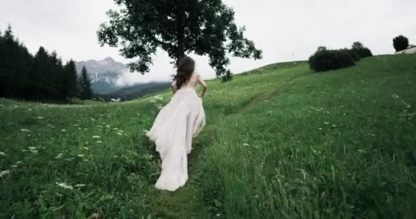 Erstaunliche junge Frau mit ziemlich langen Kleid läuft in der Mitte der grünen Wiese