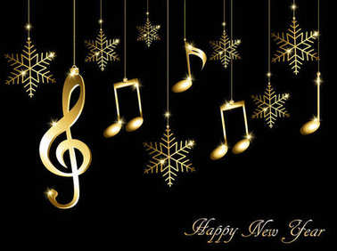 Abstract New Year background with musical notes, treble clef and snowflakes