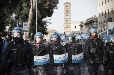 ROME - ITALY MARCH 25, 2017 Protests and clashes against the European Union in Rome March 25, 2017