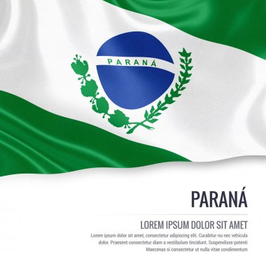 Flag of Brazilian state Parana waving on an isolated white background.
