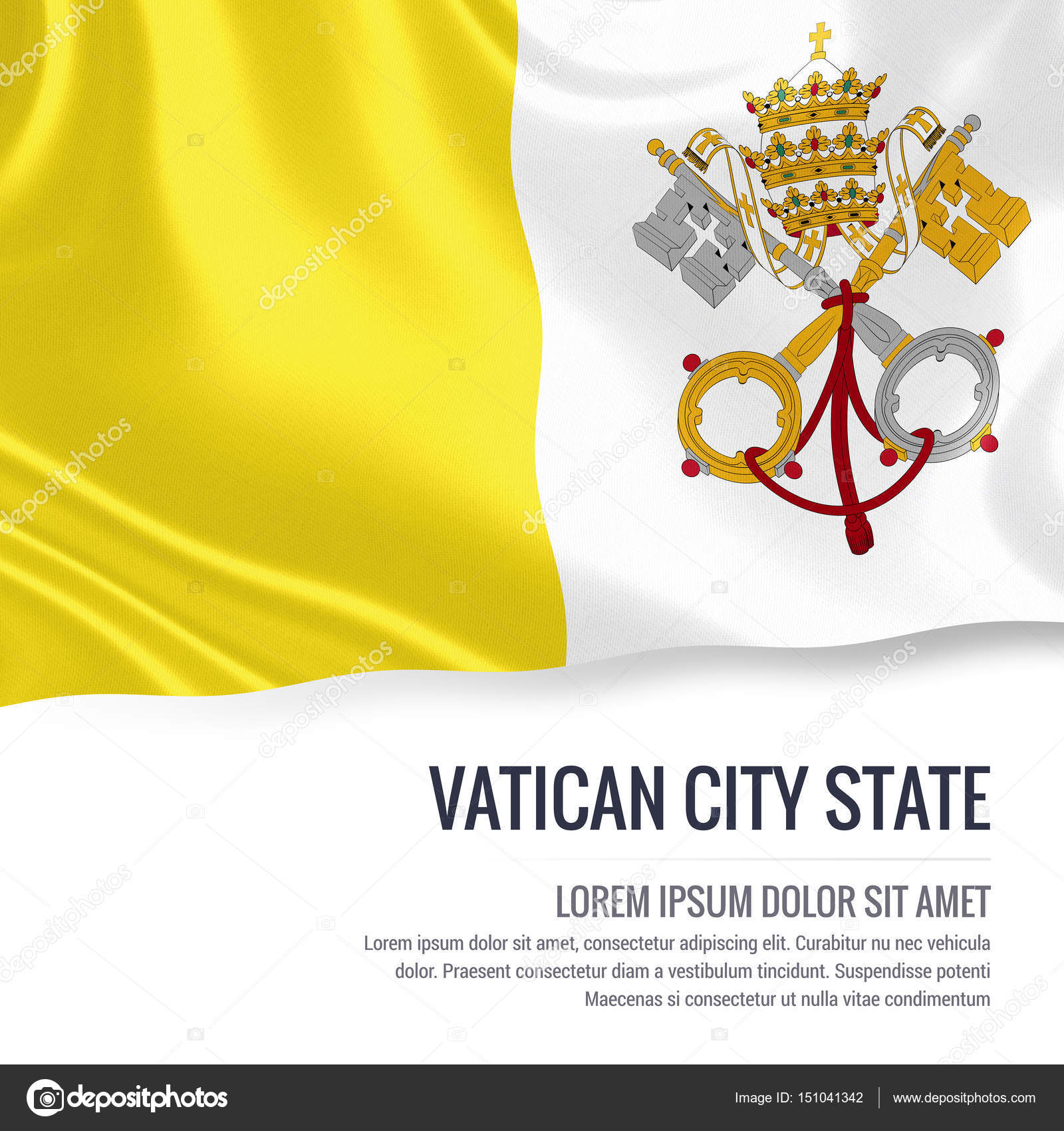 Vatican City State flag  Silky flag of Vatican City State waving on