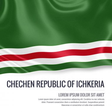 Chechen Republic of Ichkeria flag. Silky flag of Chechen Republic of Ichkeria waving on an isolated white background with the white text area for your advert message. 3D rendering.