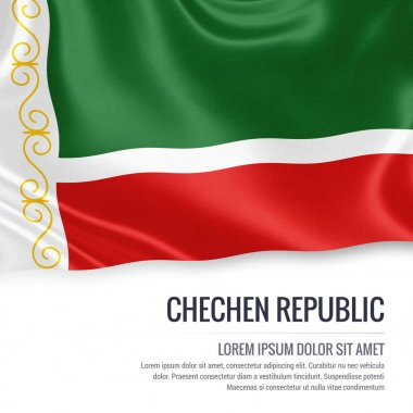 Russian state Chechen Republic flag waving on an isolated white background. State name and the text area for your message. 3D illustration.