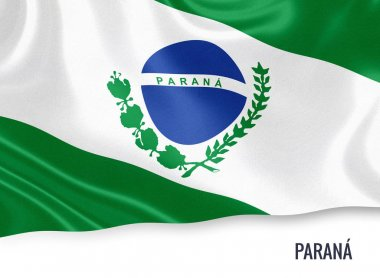 Brazilian state Parana flag waving on an isolated white background. State name is included below the flag. 3D rendering.