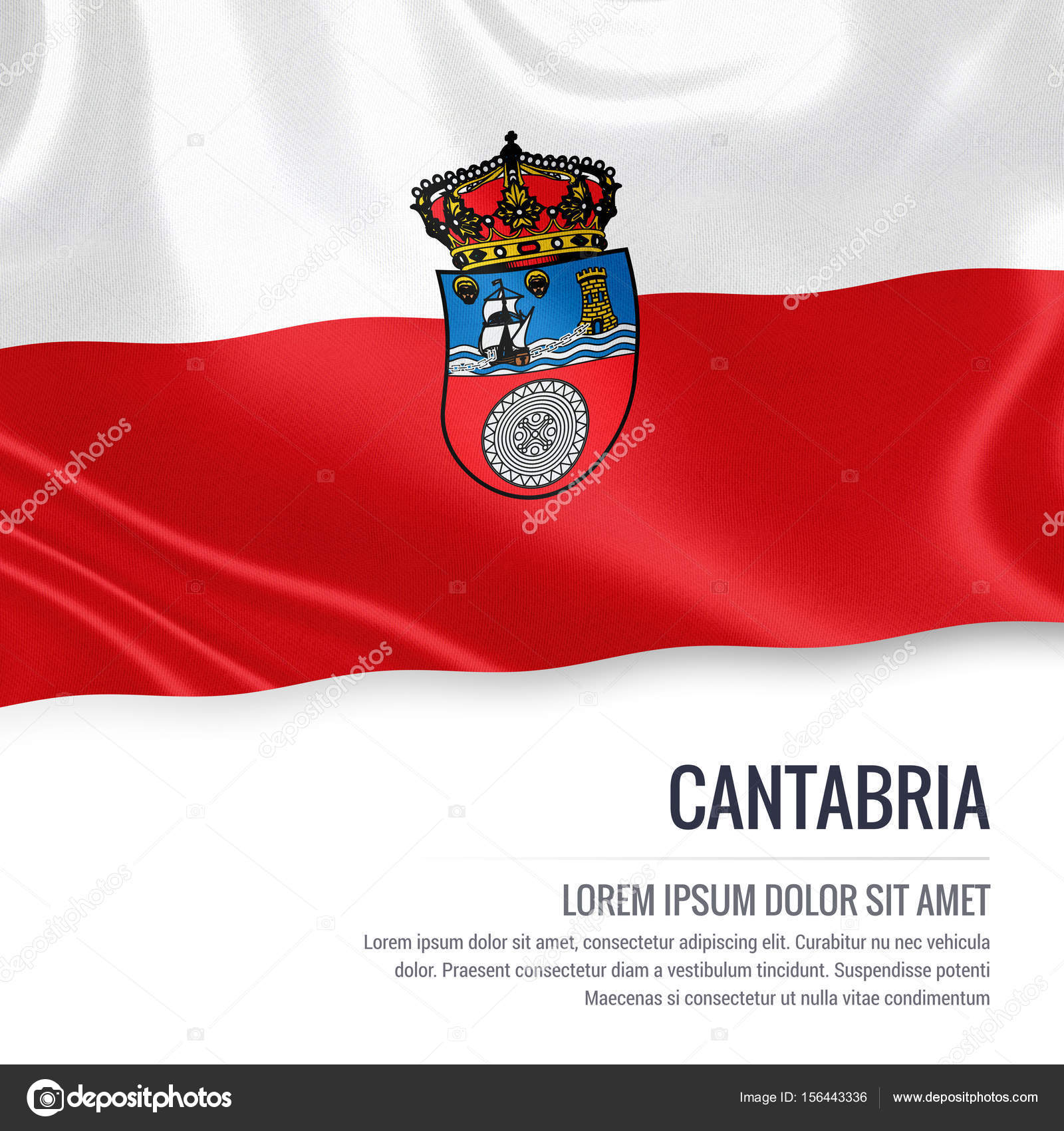 Spanish state Cantabria flag waving on an isolated white background