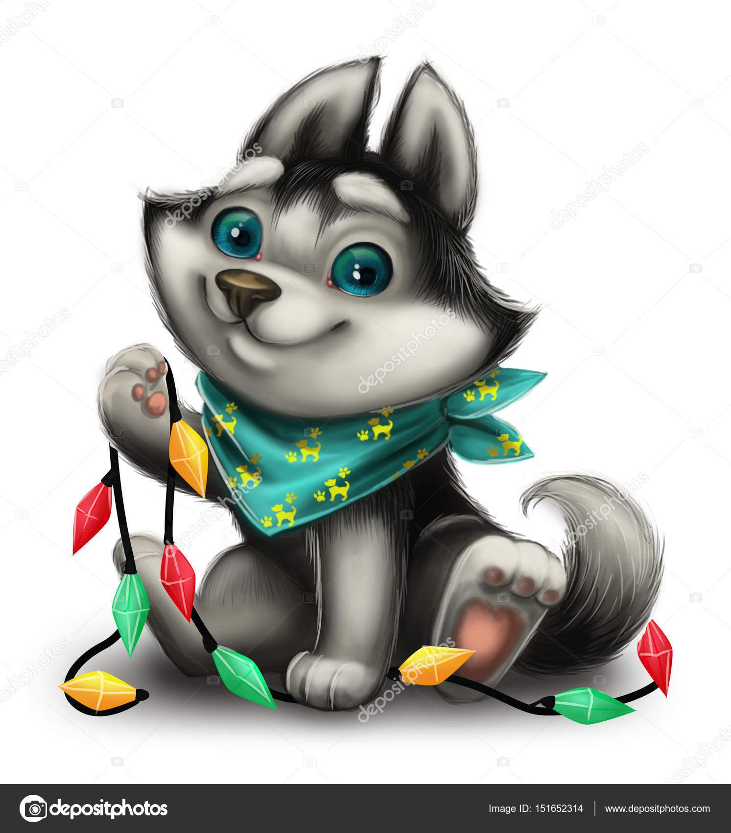 Weihnachts-und Neujahrsgrüße mit niedlichen Husky Welpen spielen mit ...