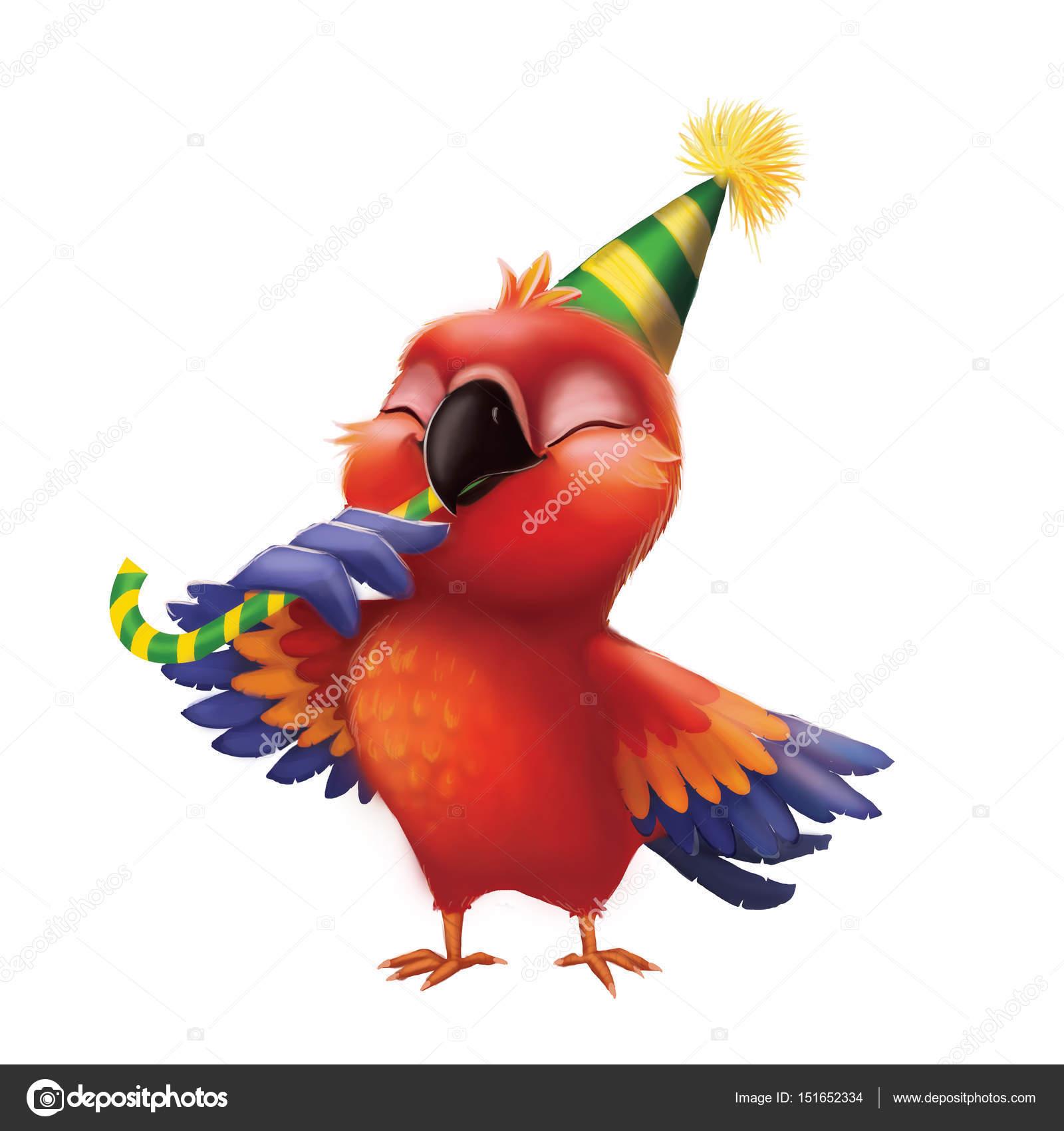 Sourire de perroquet perruche manger des bonbons en party hat enfants joyeux anniversaire de - Dessin perruche ...