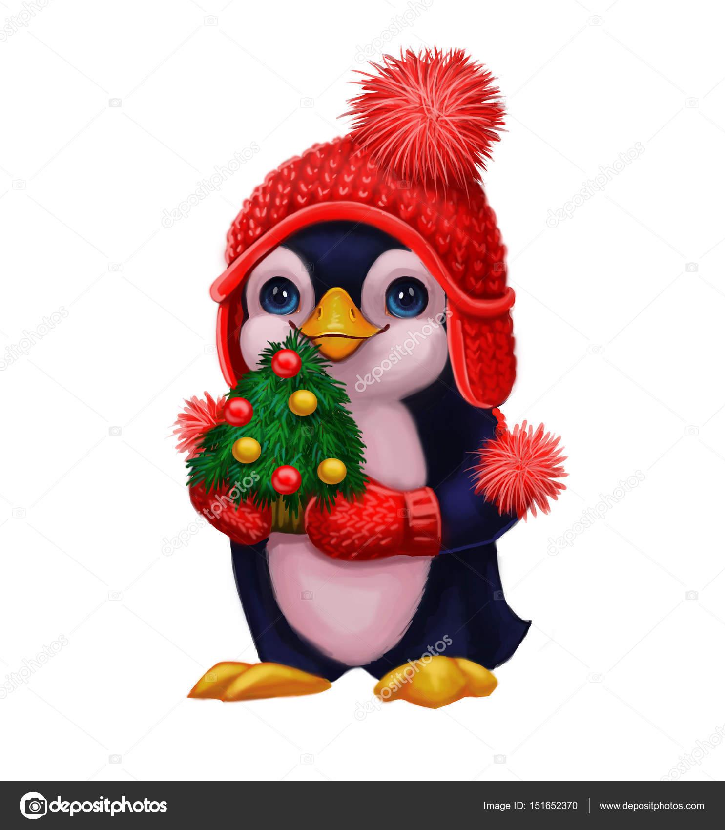 weihnachts und neujahrsgr e mit kleinen pinguin in. Black Bedroom Furniture Sets. Home Design Ideas