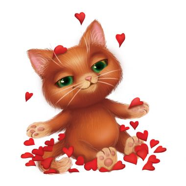 Cute Smiling Furry Kitten Fell in Love Amid Fluttering Red Rose Petals - Green-Eyed Hand-Drawn Cartoon Animal Character