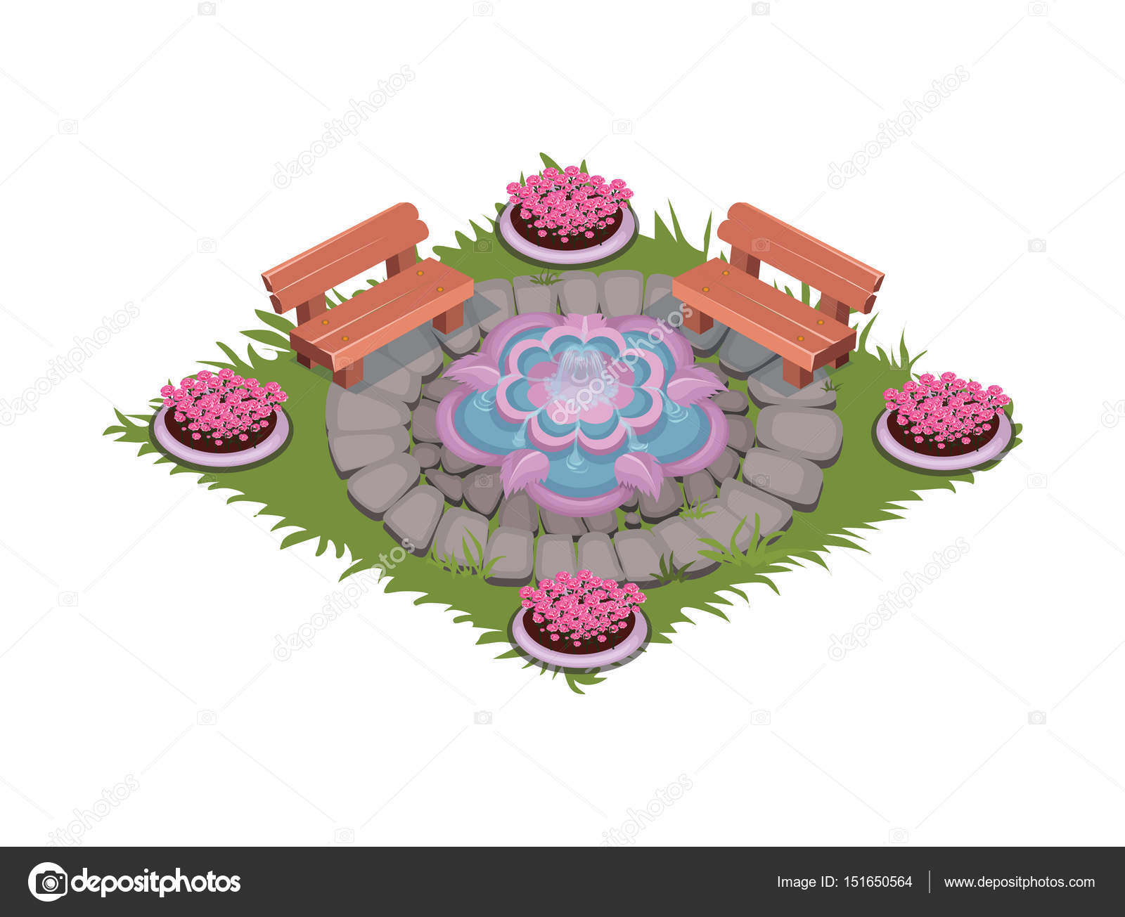 Isometric Cartoon Paved Square Patio With Fountain Benches And Flowerbeds Stock Vector C Loud Mango 151650564