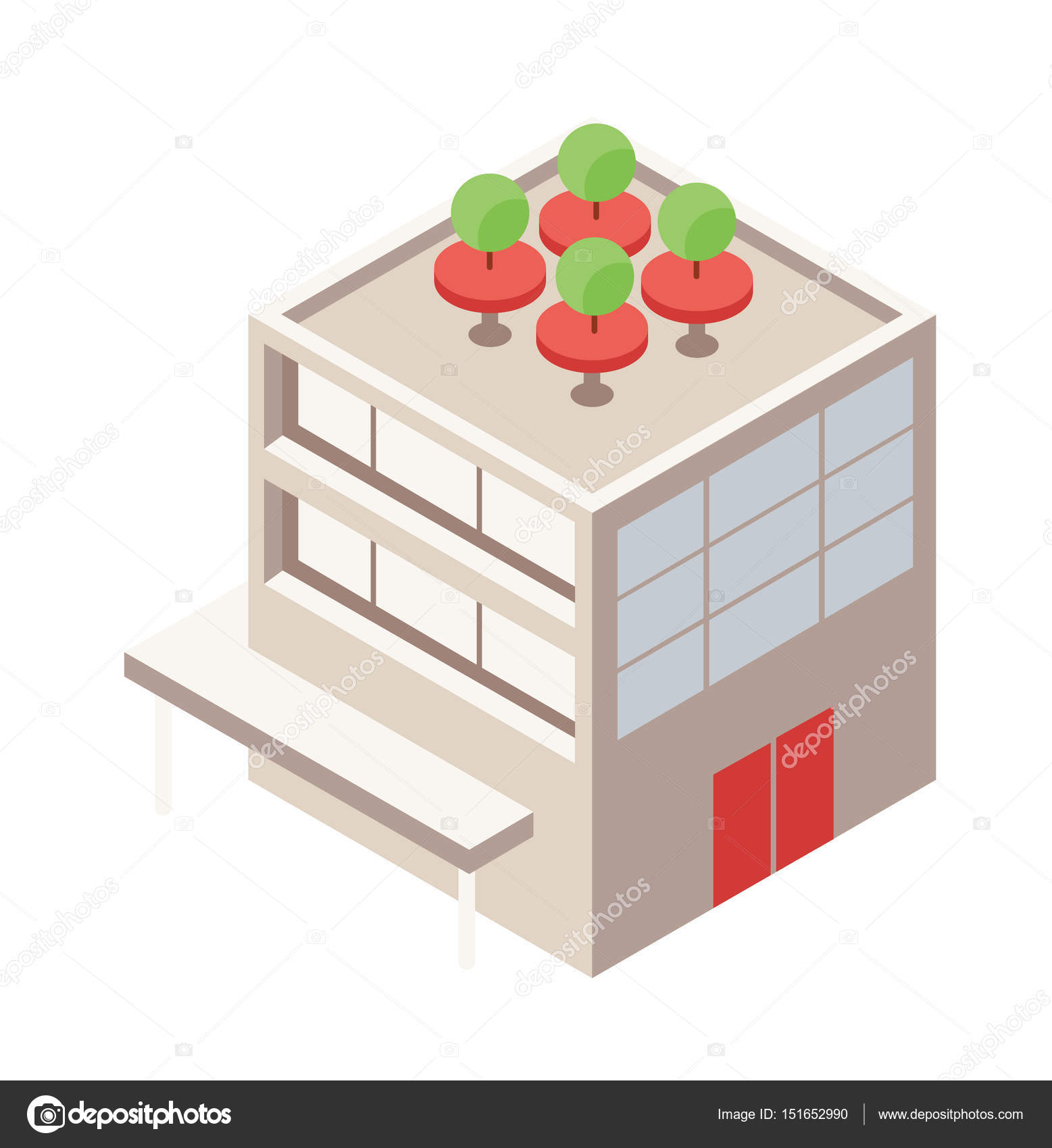 Isométrica Edificio Con Azotea Verde Terraza Elementos