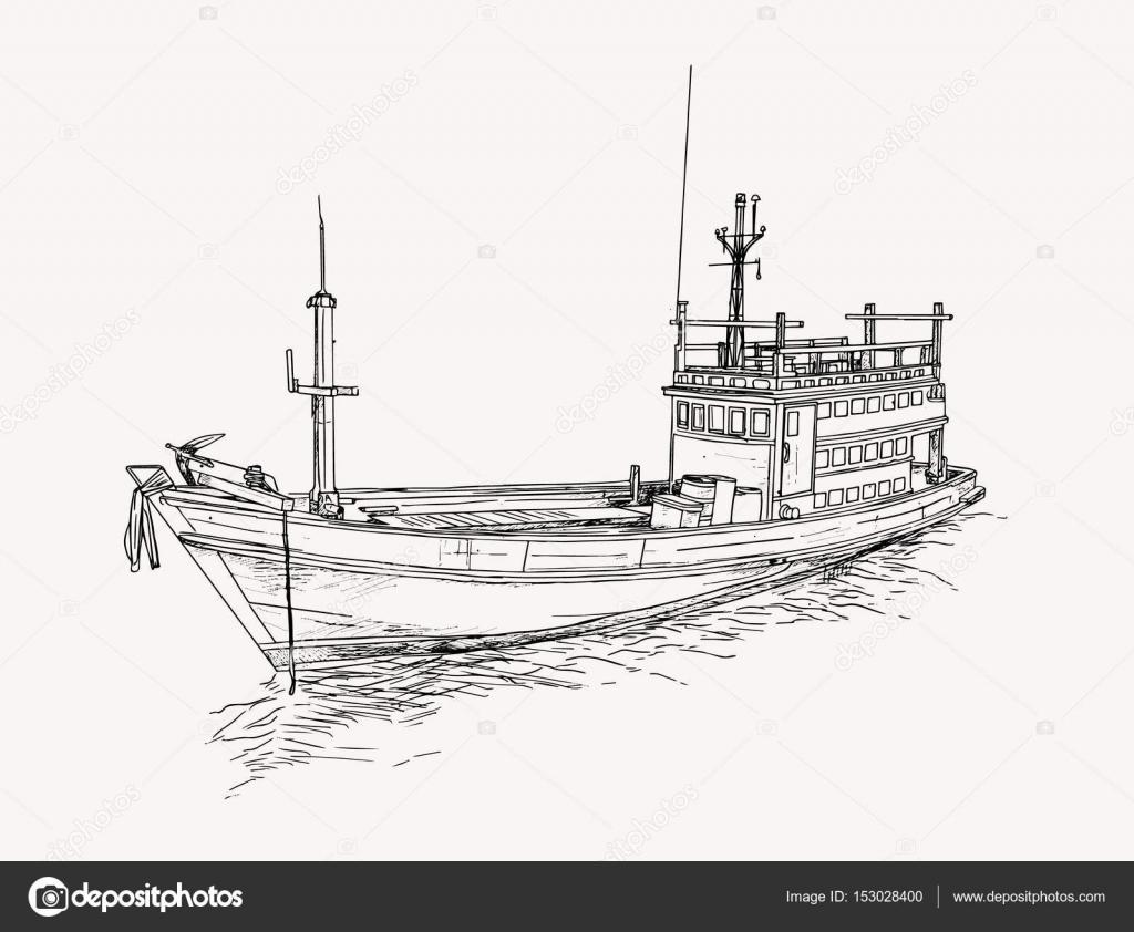 Dibujo De Barco De Pesca En El Mar Boceto Vector Archivo Imágenes