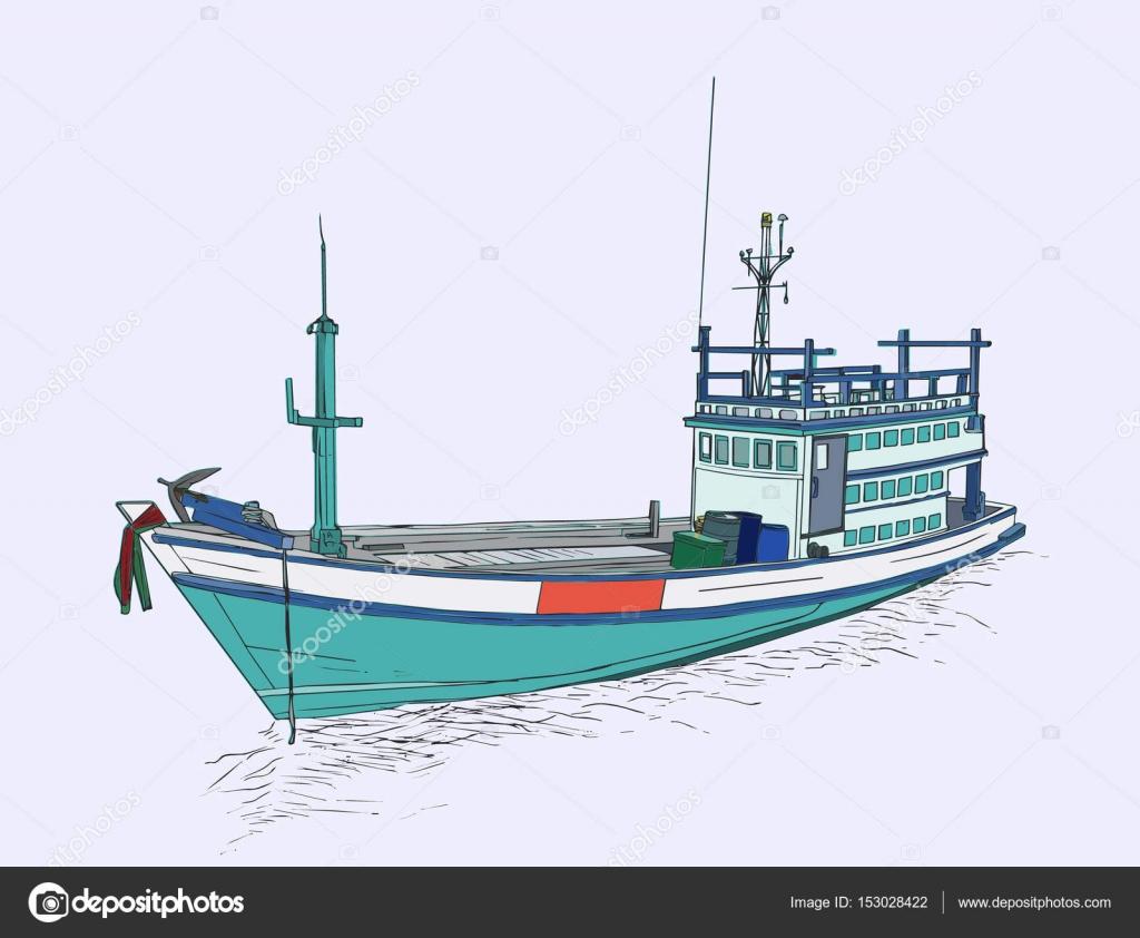 Dibujos Barco Pesquero Dibujo Dibujo De Barco De Pesca En El Mar