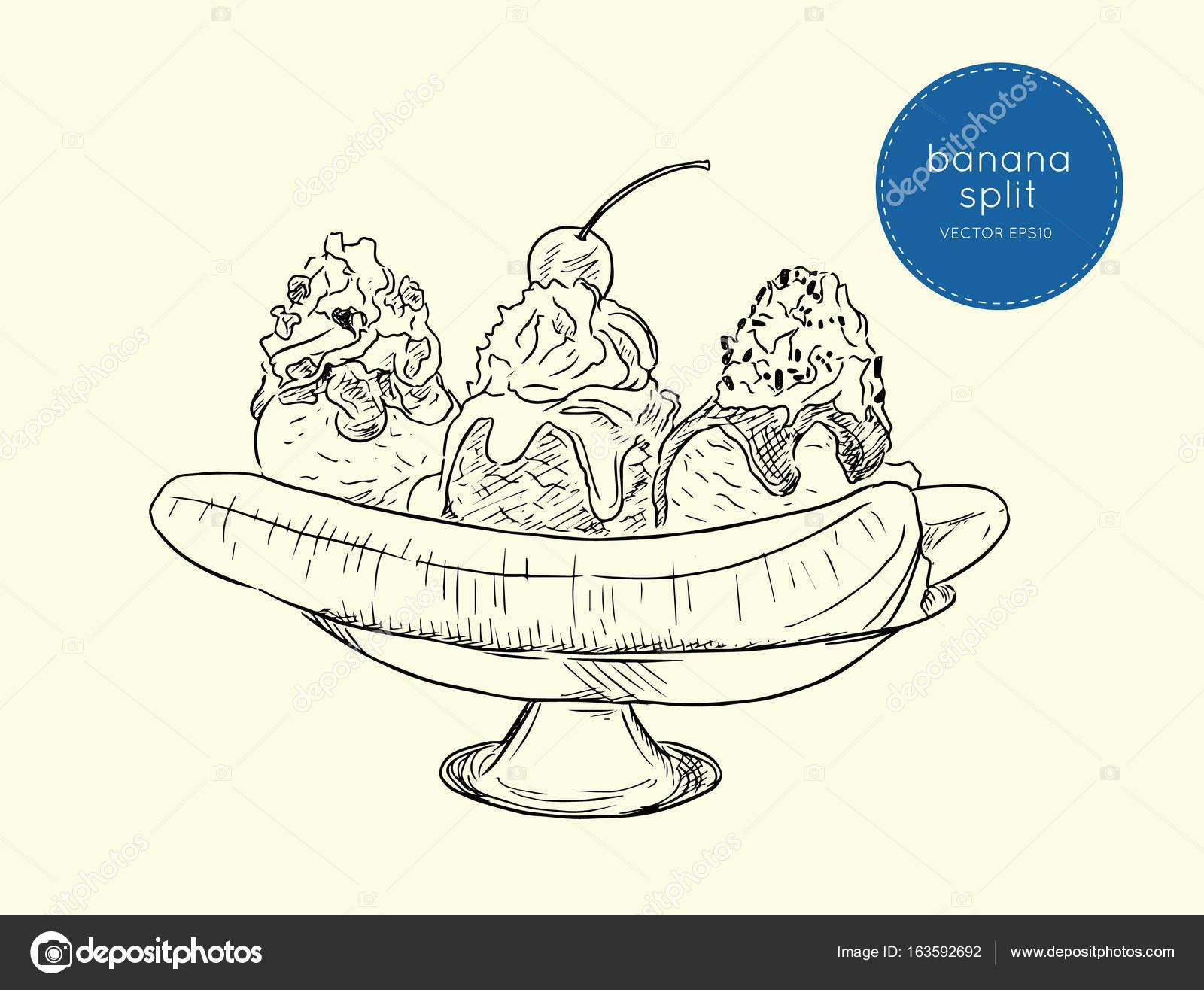 Leckere süße Bananen split Eis Dessert, Skizze Vektor — Stockvektor ...