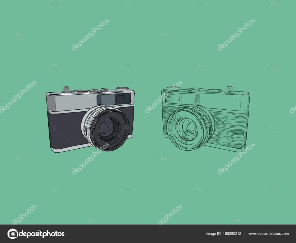 Camera Vintage Vector Free : Vintage rangefinder film camera sketch vector. u2014 stock vector